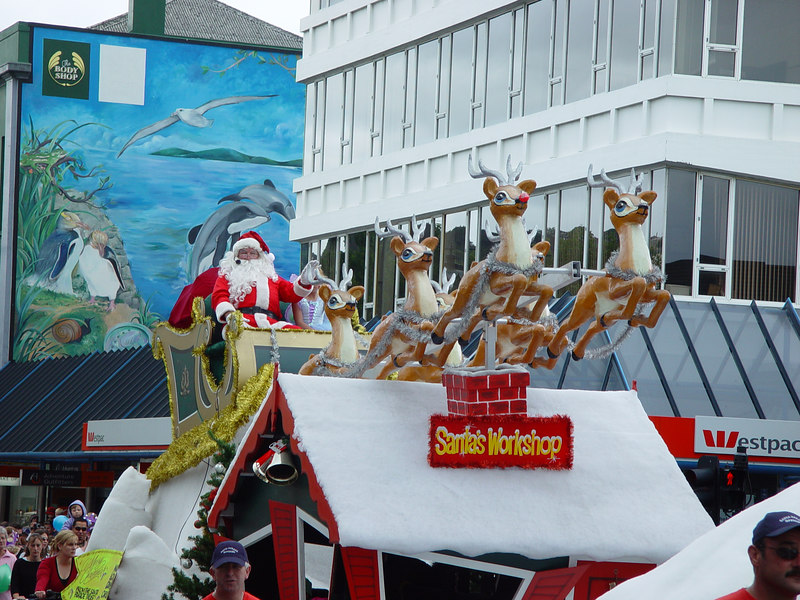 and the man himself, Santa Parade Dunedin