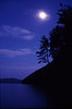 View of moon and the Kinzua reservoir
