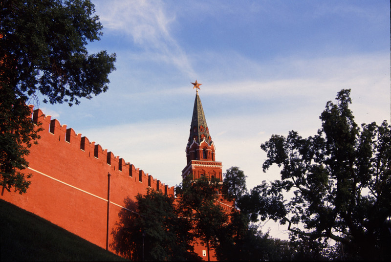 The sun sets on the towers of the Kremlin, Moscow, Russia. #RUS2001-14