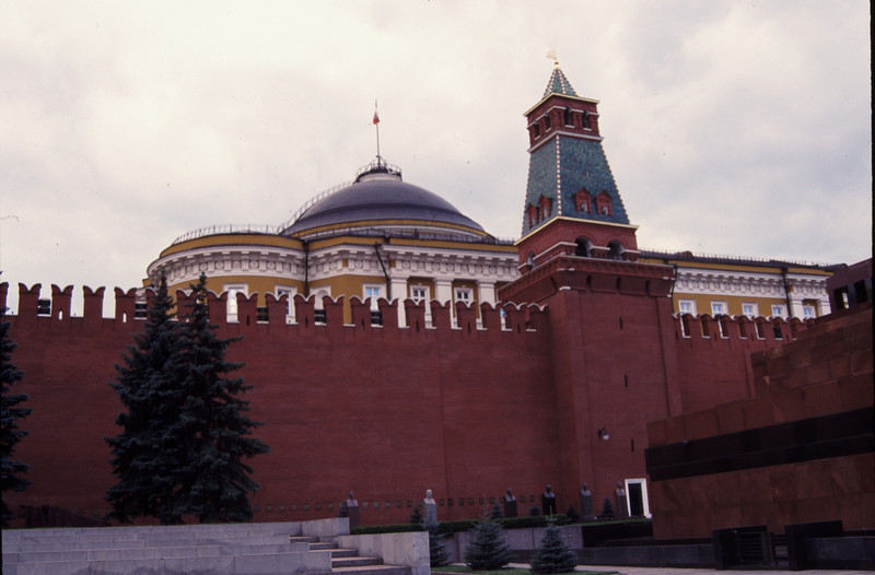 View of the mighty Kremlin from inside of Red Square, Moscow, Russia. #RUS2001-9