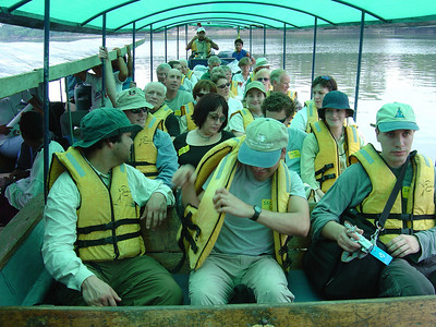 Group of tourists & friends going to Sacha Lodge on the Rio Napo (2004), one of the main rivers in this region. Like most of the rivers in the Oriente, the Rio Napo is a tributary of the Amazon (which lies further east in Peru).