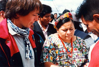 Rigoberta Menchu in Quito in 1996 for a meeting for the indigenous peoples of the Americas