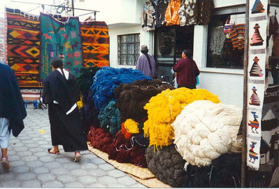 Walking around in Otavalo (piles of wool)