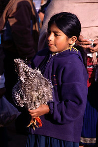 Girl with chicken (Otavalo in 2004)