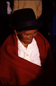 Lady with red poncho (Otavalo in 2004)