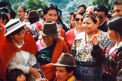 When we were in Quito in 1996, there was a meeting for the indigenous peoples of the Americas. People were happy to see Rigoberta Menchu (1992 Nobel Peace Prize Laureate).