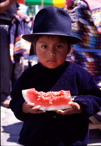 Boy with watermelon in Otavalo (2004)
