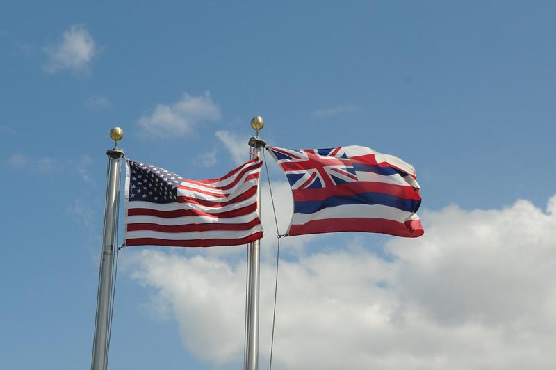 The US and Hawaiian flags