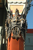 A mask outside Grauman's Chinese Theater, where the have all the foot/hand prints of the stars.