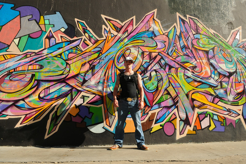 """Abram, in front of """"Color of my Soul"""" on Turk St. & Mason St."""