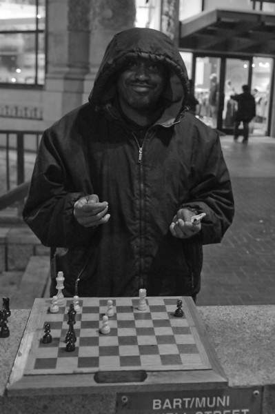 Cary, the winner, with the cash (near Hallidie Plaza, where the chess happens)