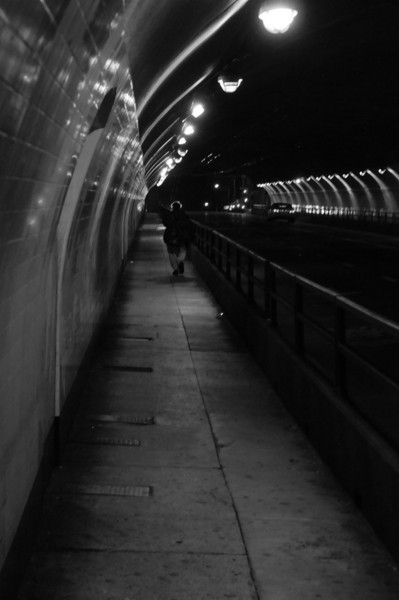 """The Stockton St tunnel.  (I like the """"halo"""" of hair in this one...)"""