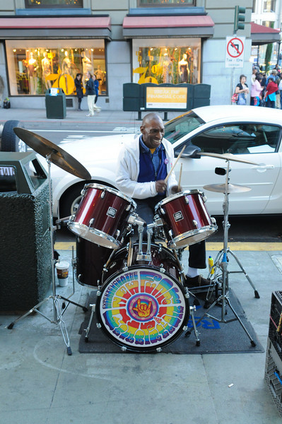 """""""Bucket Man"""", the drummer for the New Funk Generation band near Union Square.  He says he was in """"The Pursuit of Happyness"""" and has photos of him and Will Smith on display.  Cool..."""