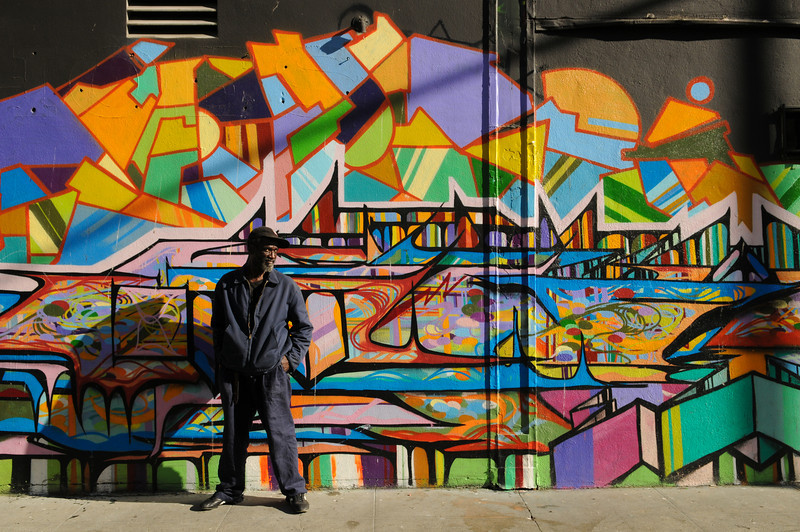 """My man, """"Cleveland"""" (ironically, he's from Memphis), in front of """"Color of my Soul"""" on Turk St. & Mason St."""