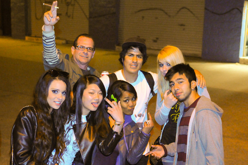 """Manual and another group of """"friends"""".  Notice: this is the 2nd time someone flipped me the bird that night"""