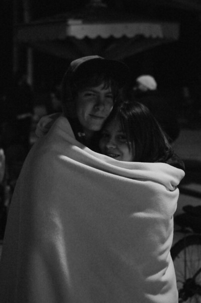 Cuddling to keep warm on a chilly night