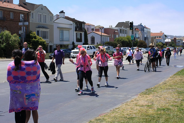 Walk to support people with brest cancer. Lots of crazy ladies in pink