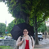 Resa under the Umbrella at the Champs-Elysees