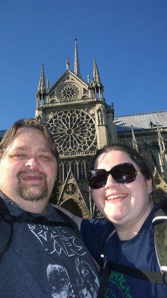 Better Sefie in front of the Rosette Window at Notre Dame