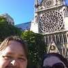 Sefie in front of the Rosette Window at Notre Dame