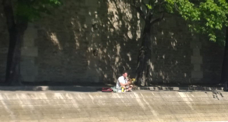 Trombone Player by the Seine