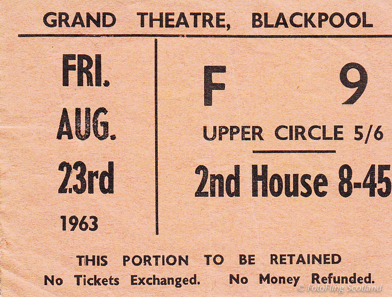 Grand Theatre Blackpool Ticket Stub 1963