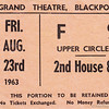 Grand Theatre Blackpool Ticket Stub 1963