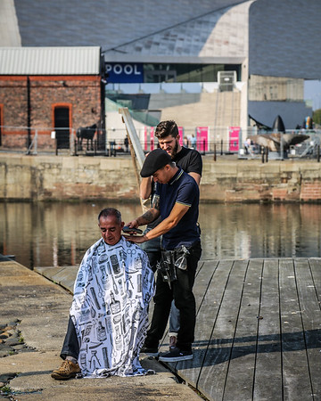 Haircut on Albert Dock
