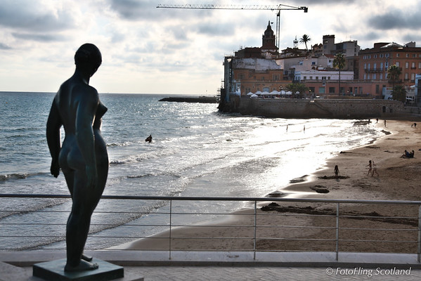 Nude overlooks Sitges Bay