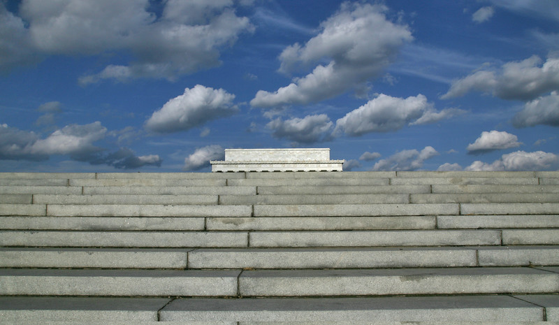 Steps to Lincoln Memorial, from parkway, Washington DC