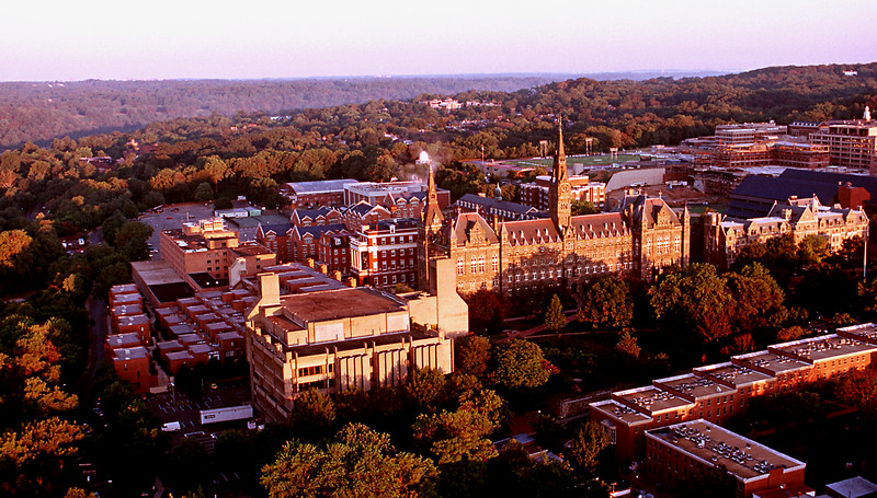 Georgetown University from the air. Washington DC  1987