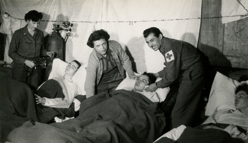 A scene in the post operative ward at the field hospital