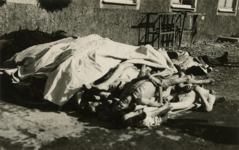A scene from the concentration camp at Ohrdruf.  Bodies being dried out before being burned.