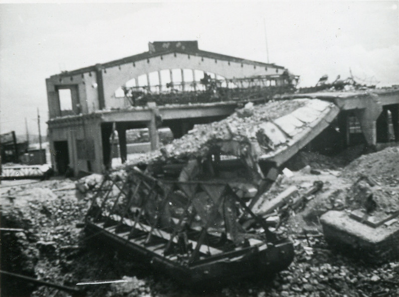 The destruction around the docks at LeHavre.