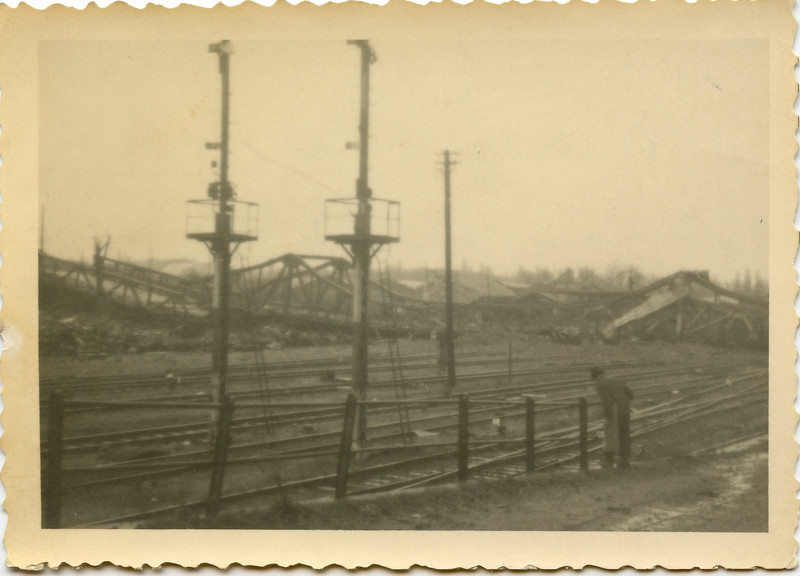A bridge blown by the Germans at Metz, France.  This really tied up the railroad.