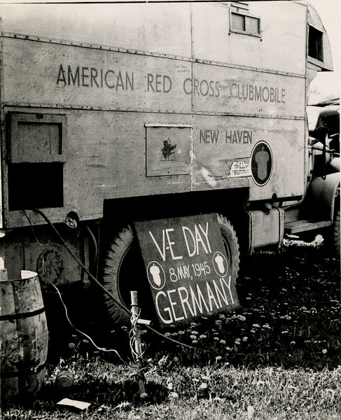 Red Cross clubmobile on V-E Day.
