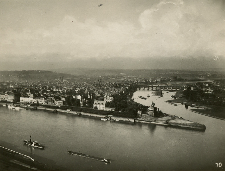 The city of Koblenz.  Junction of Mosel and Rhine rivers.