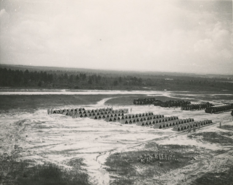 Training at Fort Jackson - An airplane view of a full field inspection.