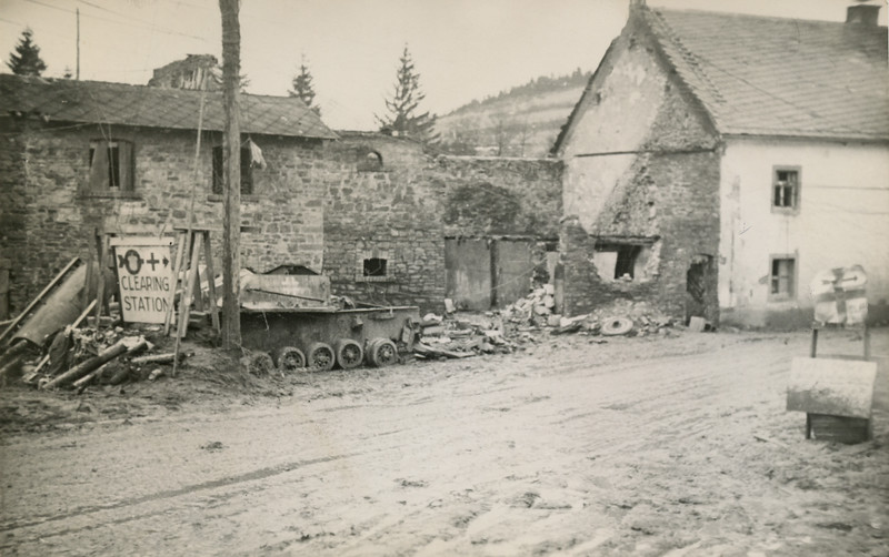 A typical scene showing the rubble and damage of war.