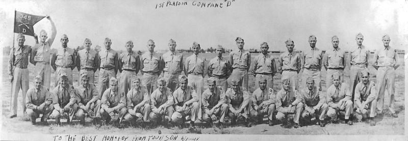 1st Platoon, Company D, 345th Infantry Regiment<br /> Summer 1944<br /> Fort Jackson, South Carolina