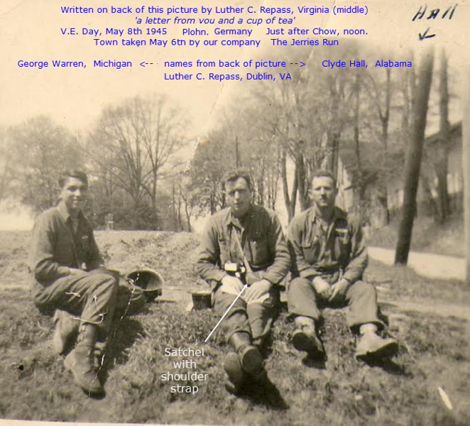 V-E Day - 8 May 1945 - Plohn, Germany<br /> L-R:  George Warren, Michigan; Luther C. Repass, Dublin, Virginia; Clyde Hall, Alabama