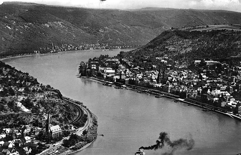 Boppard, Germany (photograph taken prior to 1945).  Boppard is on the right side.  F Company crossed the Rhine River using a pontoon bridge at the narrow spot near the center of the photo.