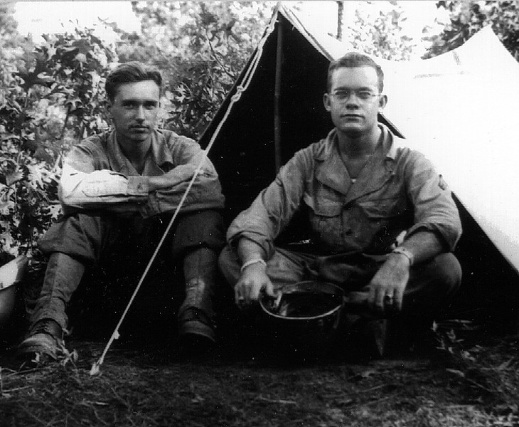 Fort Jackson, South Carolina - July 1944.<br /> Left to right:  William Parod and Clifford East (B Company, 347th Regt).