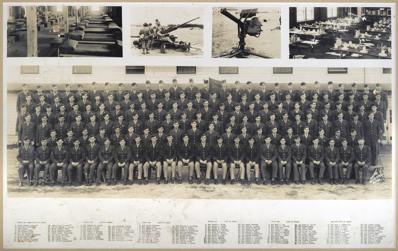 """549th AAA AW BN BTRY C<br /> 87th Infantry Division.<br /> Involved in the Battle Of The Bulge - WWII.<br /> <br /> Picture dated - October - 1943<br /> <br /> List of names are under picture.<br /> To view all 6 rows of names enlarged for easy viewing, <br /> see all other pics in this gallery - which is 4 pages.   <br /> <br /> I also enlarged sections of this group pic.<br /> <br /> Please make contact if you are connected in any way to any of these names shown in this gallery of names under this picture! <br /> <br /> Also if you have timeline of where this unit was for month of <br /> December - 1944.<br /> Morning reports could not be located for this unit for this month at national records center.<br /> <br /> UPDATE 8-2007<br /> We have found and talked with two wonderful gentlemen from this unit!<br /> <br /> Cpl Howard A. Rishel (in unit pic – he is in 1st row - #21 from left)<br /> Sgt Wayne L. Luedke ( in unit pic – he is 2nd row - # 9 from left) <br /> <br /> Both were very humble in their discussing their time/place in the war.<br /> When Mr. Luedke gave me permission to give his name, he stated, <br /> """"I guess that would be fine – but just don't make me out a hero anywhere..…I was just one of 16 million – I was just a Buck Sgt.""""<br /> and """"put my picture small.""""<br /> <br /> A news article that featured Mr. Luedke describing his time/place in the war serving in the 549th has now been posted on the main 87th ID page under """"News Articles"""" It is titled, """"CALL HIM LUCKY"""" <br /> <br /> He recalls maybe three more men who were from around St, Louis, MO<br /> Cpl August Mormino – <br /> (In unit pic - he is in 5th row from bottom # 26th from left),<br /> <br /> Pvt Edward C. Merkel – <br /> (In unit pic – he is in 4th row from bottom - #12 from left),<br /> <br /> Pvt Robert Smith –<br /> (In unit pic – he is in 5th row from bottom # 21 from left). <br /> <br /> The 549th AAA has had several reunions in St. Louis, and Branson, MO, but as far as he knows, th"""