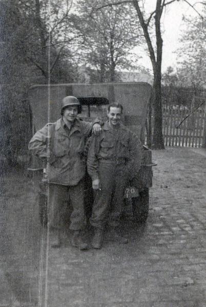 Me and Surabian, Plauen, May 7, 45<br /> [William Saul, Robert Surabian]