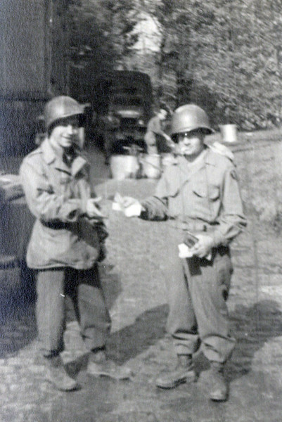 Me and Surabian, Plauen, May 7, 45 ($30 he owed me).<br /> [William Saul, Robert Surabian]