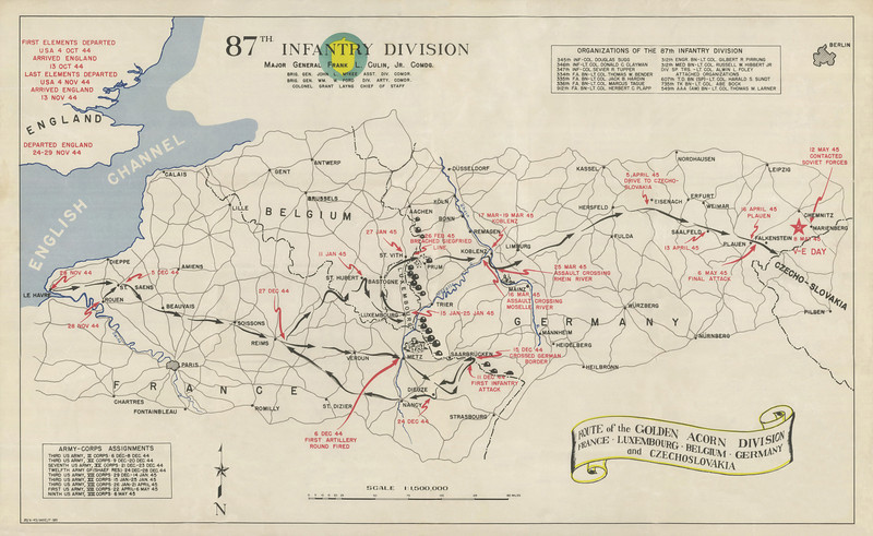 Campaign Map of the 87th Infantry Division in World War II.<br /> <br /> This image was contributed by Tim Townsend, son of T4 Anthony Townsend, 334 FA - Battery A.  The original map was restored by a graphic artist who is a friend of Tim's.