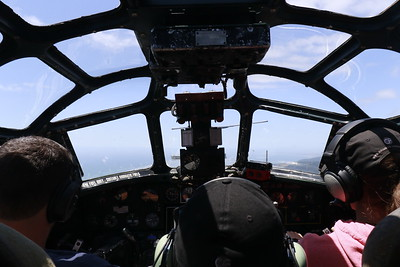 The pilot, flight engineer and co-pilot in the B-24 cockpit. (Hunter Cresswell - The Times-Standard)