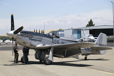 """P-51 Mustang """"Betty Jane"""" sits at an airport in Concord before flying up to Humboldt County on Monday. (Hunter Cresswell - The Times-Standard)"""