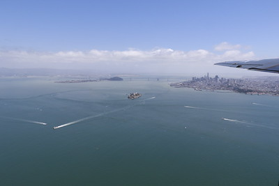 Alcatraz and the San Francisco skyline as seen from the B-24 on Monday afternoon. (Hunter Cresswell - The Times-Standard)